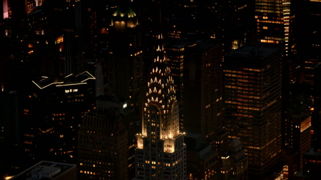 aerial chrysler building at night - chrysler building stock videos & royalty-free footage