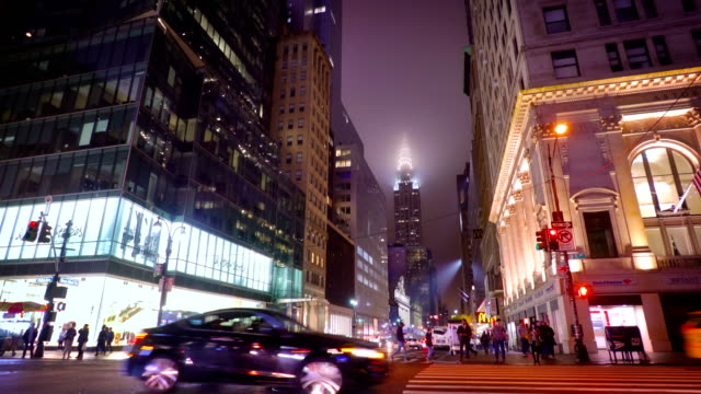 Chrysler building in fog. 42nd street 5th avenue