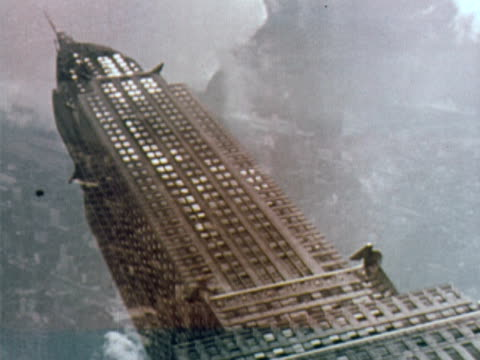1960 MONTAGE LA TILTED Chrysler Building / WS PAN midtown Manhattan from Hudson River to East River / New York City