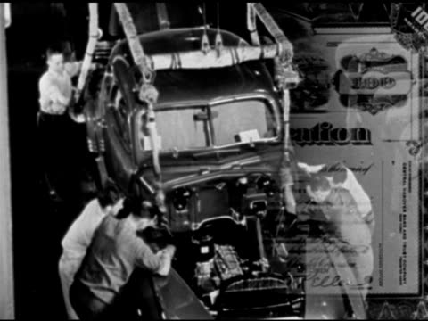 stockvideo's en b-roll-footage met chrysler corporation stock certificate ha td men placing body of car onto chassis cu us plywood corporation stock certificate row of cutting blades... - chrysler