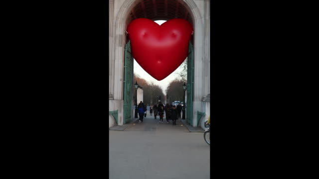Chubby Hearts by Anya Hindmarch around London at Hyde Park on February 16 2018 in London England