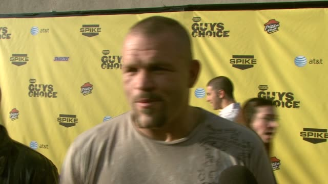 chuck liddell on the event if he has a sensitive side if he voted and if he wants to win at the spike tv's guys' choice awards at radford studios in... - spike guys choice awards video stock e b–roll