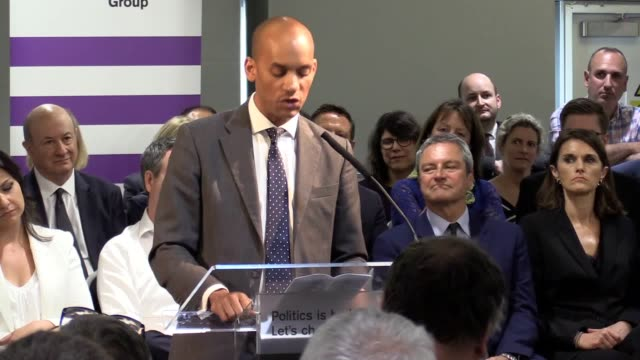 mp chuka umunna addresses the european election launch of change uk in bristol heidi allen interim leader said 3700 people had offered to stand for... - change stock videos & royalty-free footage