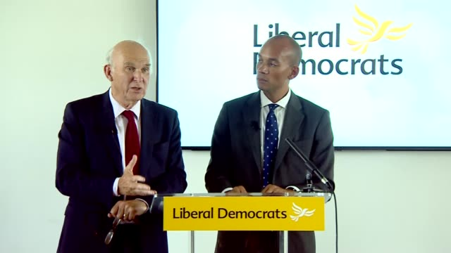 chuka umunna and vince cable joint press conference; uk, london: vince cable mp and chuka umunna mp joint press conference after umunna joined the... - british liberal democratic party stock videos & royalty-free footage