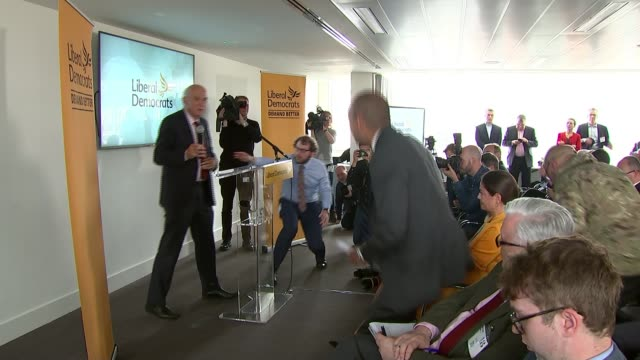 chuka umunna joins liberal democrats england london photography** streatham introduced by sir vince cable mp to applause sot - british liberal democratic party stock videos & royalty-free footage