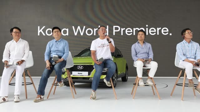 chung eui sun vice chairman of hyundai motor co speaks during an unveiling ceremony for the company's kona sport utility vehicle in goyang south... - goyang stock videos and b-roll footage