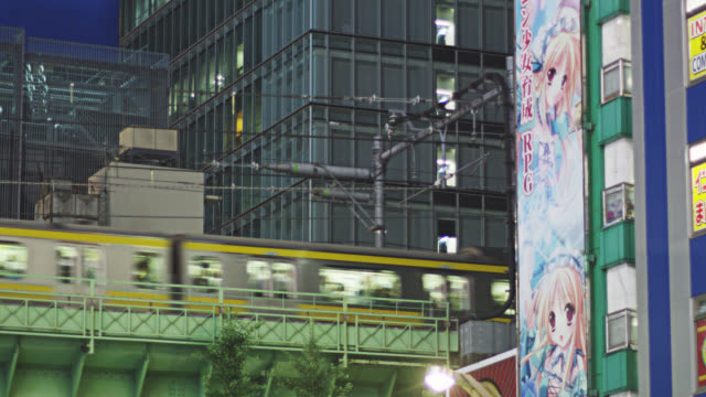 MS JR Chuo line railway on bridge crossing Chuo Dori in Akihabara Electric District / Tokyo, Tokyo-to, Japan