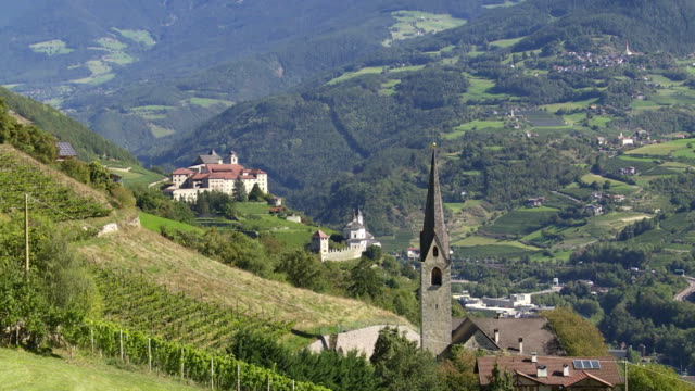 church and monastery in south tyrol tilt up - abbey stock videos & royalty-free footage