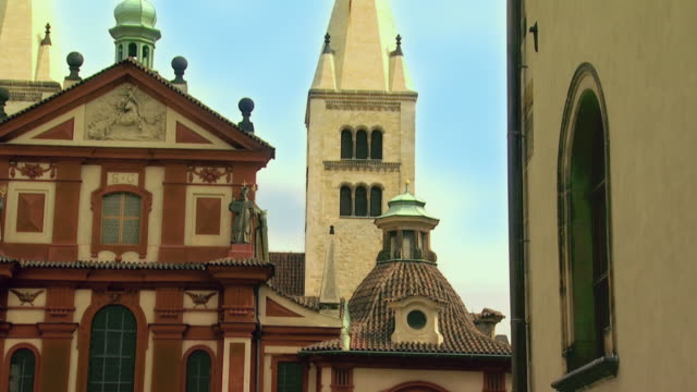 ws td church and monastery of st george, hradcany castle / prague, czech republic - hradcany castle stock videos and b-roll footage