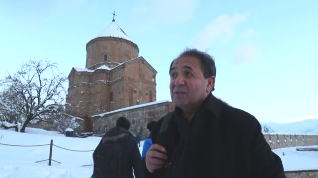 a church at the akdamar island the second largest of the four islands in lake van seen after snowfall during the winter season in van eastern... - lake van stock videos and b-roll footage