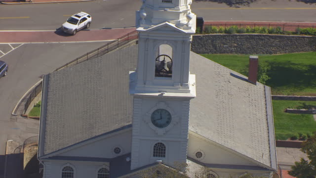 ms zo aerial pov church bell of first baptist church in america with cityscape, skyscraper in foreground / providence, rhode island, united states - baptist stock videos & royalty-free footage