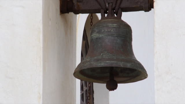 cu church bell on church bell tower / cape agulhas, western cape, south africa - bell tower tower stock videos and b-roll footage