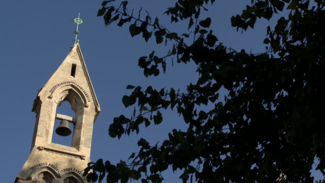 a church bell tower overlooks a tree.  - bell tower tower stock videos and b-roll footage