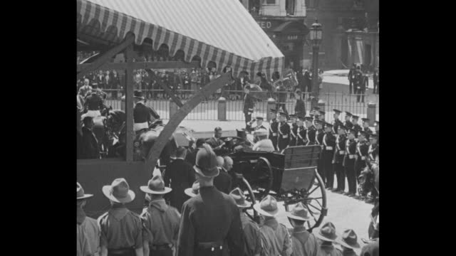 church bells throughout] queen mary, george v get into carriage, followed by their sons edward, the prince of wales, and albert, the duke of york;... - domestic staff stock videos & royalty-free footage
