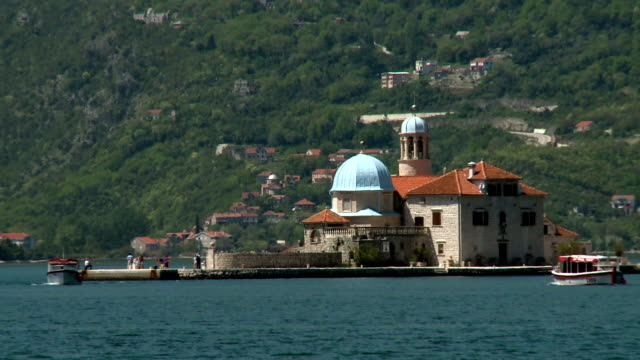 church boats - perast stock videos and b-roll footage