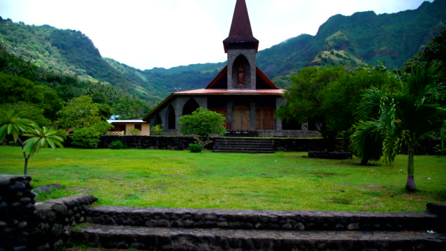 church building remote vaitahu on tahuata island marquesas - französisch polynesien stock-videos und b-roll-filmmaterial