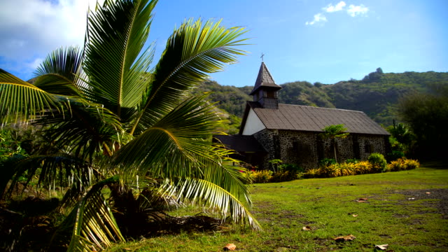 church building taaoa hiva oa marquesas south pacific - französisch polynesien stock-videos und b-roll-filmmaterial