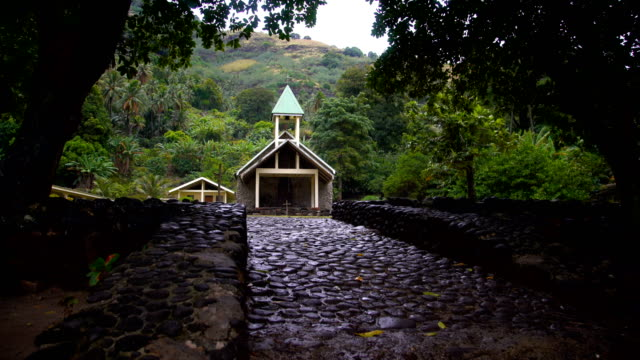 church building vaitahu on tahuata island marquesas pacific - tahitian culture stock videos and b-roll footage