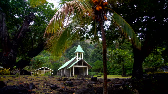 church building vaitahu on tahuata island marquesas pacific - französisch polynesien stock-videos und b-roll-filmmaterial