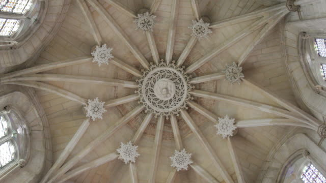 church ceiling in medieval cathedral in portugal - cathedral stock videos & royalty-free footage