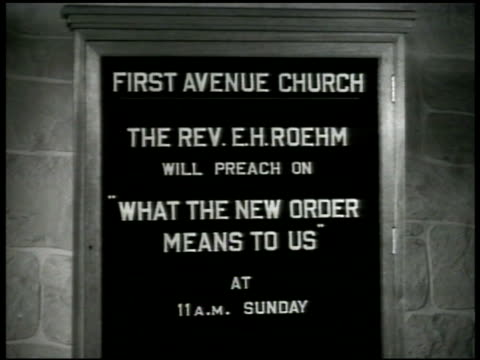 church church bulletin board sermon on sunday 'what the new order means to us' ext church ws people walking into church another bulletin board next... - bulletin board stock videos and b-roll footage