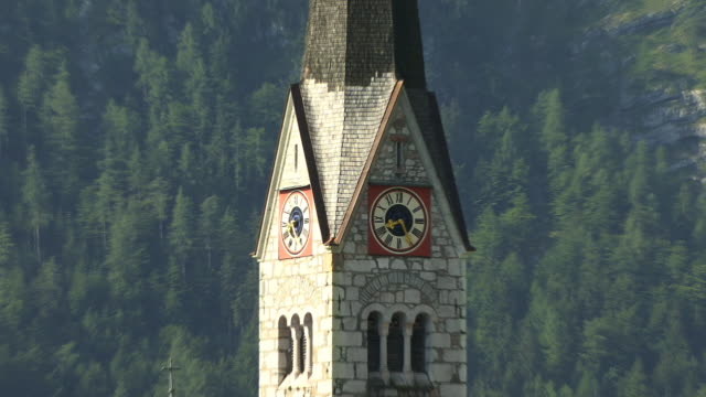 CU, ZO, WS, HA, Church clock tower, Village Hallstatt at Hallstatter lake, Austria