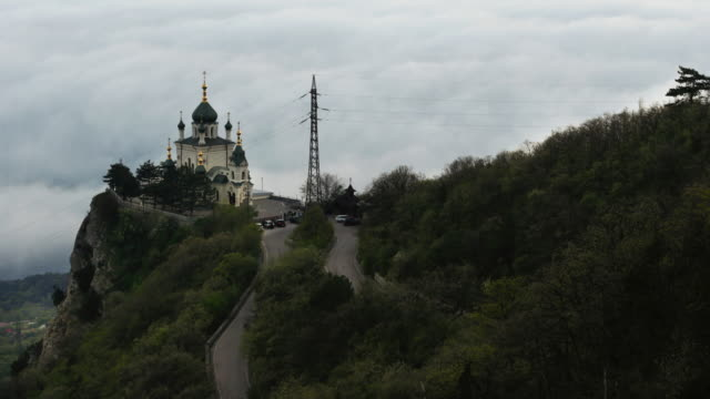 church in foros crimea, standing on rock. - onion dome stock videos and b-roll footage