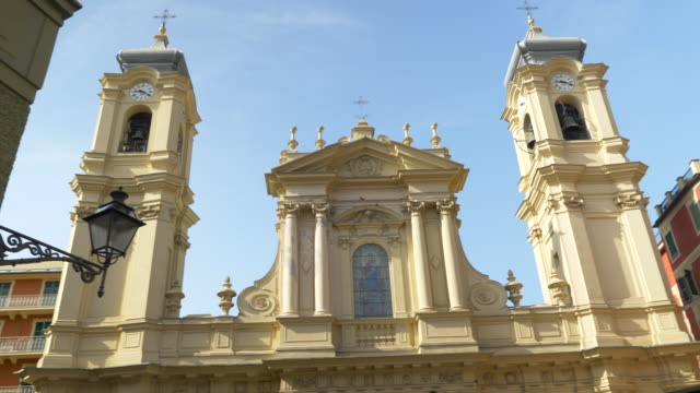 a church in santa margherita, italy, europe. - slow motion - goodsportvideo stock videos and b-roll footage