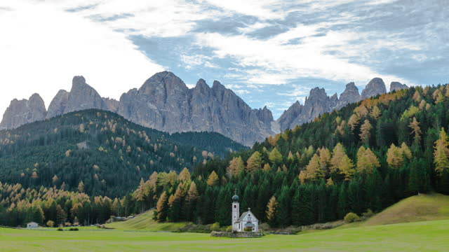 church in the santa maddalena in val di funes, dolomites, italy. - british royalty stock videos & royalty-free footage