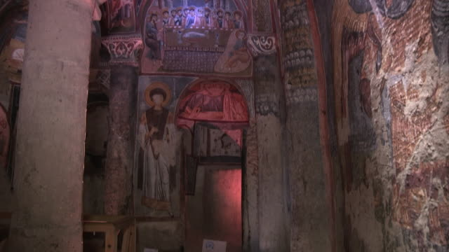 church interior, cappadocia, turkey - chiesa video stock e b–roll