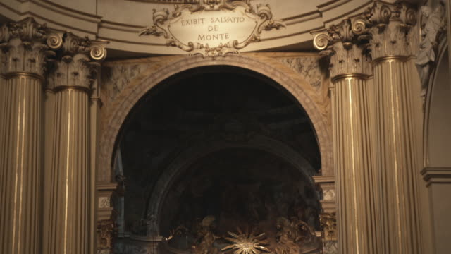ms td church interior with arch and altar / bologna, italy - lateinische schrift stock-videos und b-roll-filmmaterial