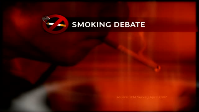 Church leaders angry about 'No Smoking' signs GRAPHICISED SEQUENCE of person lighting up cigarette as GRAPHIC regarding smoking debate overlaid
