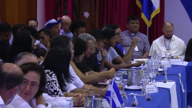 church mediated national dialogue talks between the nicaraguan government and the opposition continue in managua in a bid to quell a month of anti... - managua stock videos & royalty-free footage