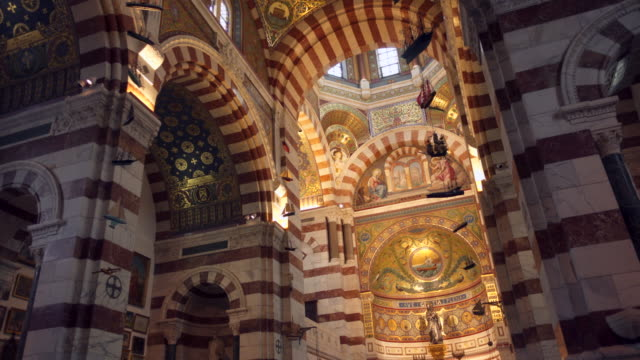 church notre dame de la garde in marseille, internal view - cathedral stock videos & royalty-free footage