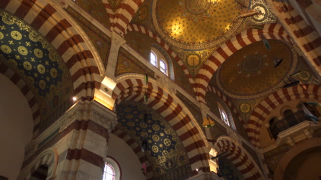 church notre dame de la garde in marseille, internal view - christianity stock videos & royalty-free footage