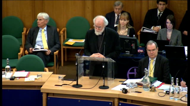 archbishop of canterbury comments on rejection of women bishops int gv general synod in session dr rowan williams addressing meeting sot the fact... - カンタベリー大主教点の映像素材/bロール