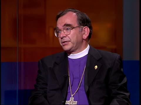 gay bishop row; krishnan guru murthy very reverend robert duncan interview clean feed tape = d0625265 or d0625266 00.18.49 to 00.21.43 fx programme... - krishnan guru murthy stock videos & royalty-free footage