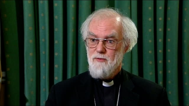 church of england general synod votes against women bishops; dr rowan williams interview sot - synod stock videos & royalty-free footage