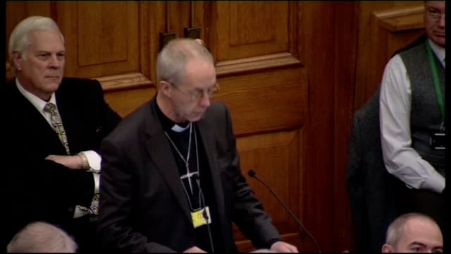 church of england general synod votes against women bishops; justin welby speaking at podium dr rowan williams listening justin welby speaking at... - synod stock videos & royalty-free footage