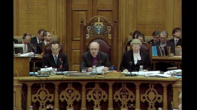 church of england general synod votes against women bishops; lib / tx dr george carey announcing result of vote on ordination of women sot women... - synod stock videos & royalty-free footage
