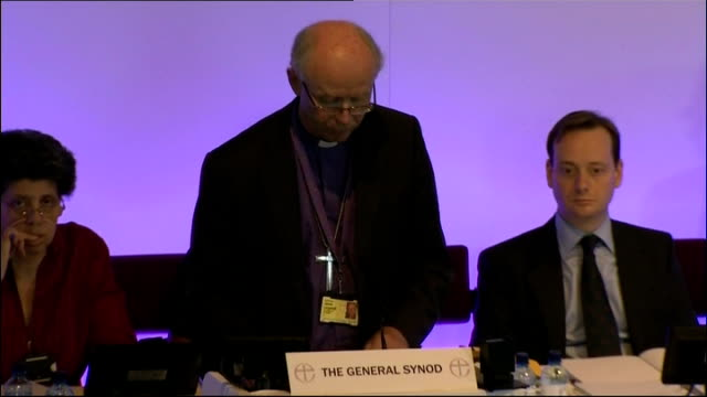 church of england general synod votes in favour of ordaining women bishops; int clergyman speaking at podium sot people at synod council meeting most... - synod stock videos & royalty-free footage