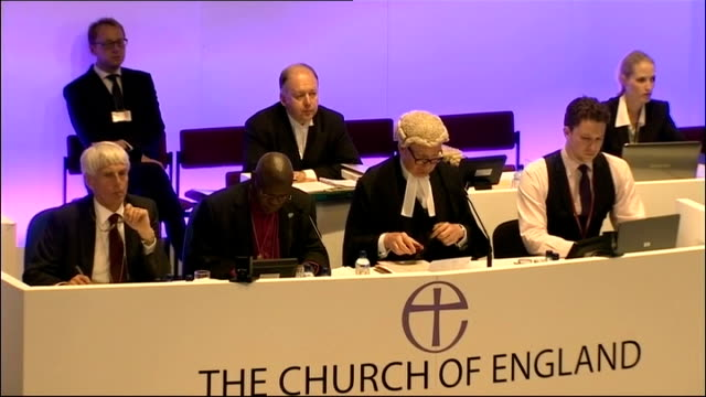 church of england general synod votes in favour of ordaining women bishops; int official saying 'the voting period is now open and will end in one... - synod stock videos & royalty-free footage