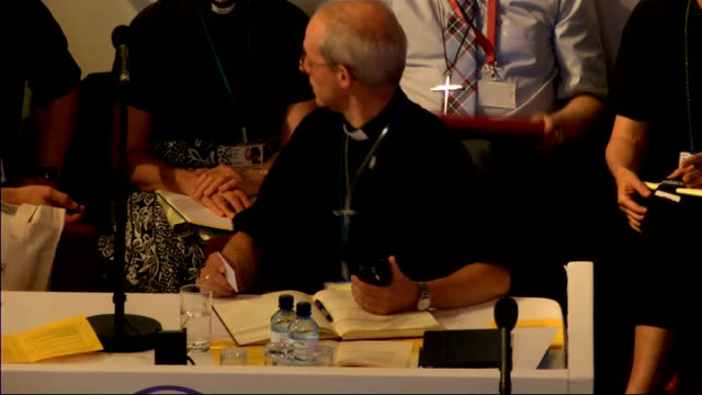 Church of England General Synod votes in favour of ordaining women bishops ENGLAND York INT GVs of General Synod / Most Rev Justin Welby at top table...