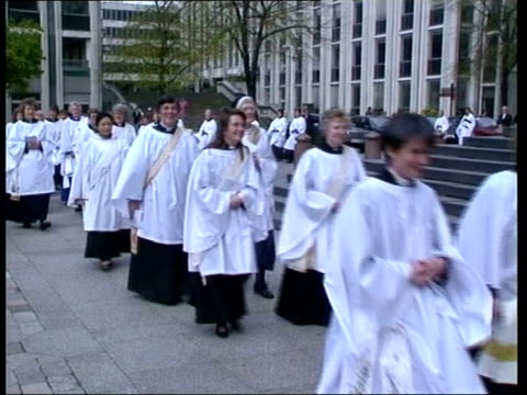 rowan williams appointed archbishop of canterbury lib procession of women priests along - archbishop of canterbury stock videos and b-roll footage