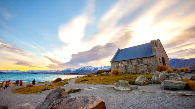 church of good shepherd on beautiful sunset in new zealand - herder stock videos & royalty-free footage