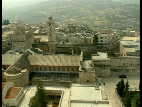 aerial ws church of nativity in bethlehem, judea, israel - church of the nativity stock videos and b-roll footage