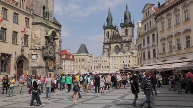 church of our lady in the old town square, prague, czech republic, europe - prague old town square stock videos & royalty-free footage