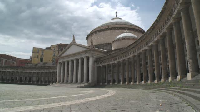 ws church of san francesco di paola-piazza del plebiscito / naples, campania, italy - プレビシート広場点の映像素材/bロール