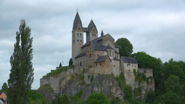 church of st. lubentius in dietkirchen, district of limburg an der lahn, westerwald, hesse, germany, europe - circa 12th century stock videos & royalty-free footage