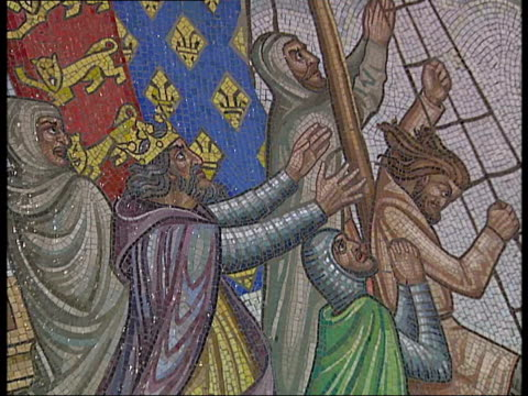 church of the english martyrs; mosiacs on wall of church depicting the crusades / statue of the virgin mary / stained glass window - the crusades stock videos & royalty-free footage